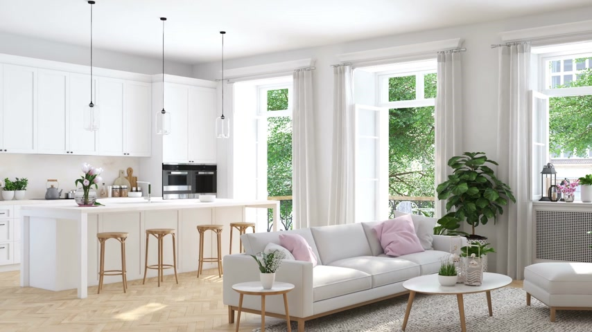 woninginrichting : moderne woonkamer in herenhuis. 3D-rendering Stockvideo