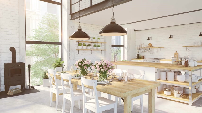 tulipany : modern loft apartment. 3d rendering Wideo