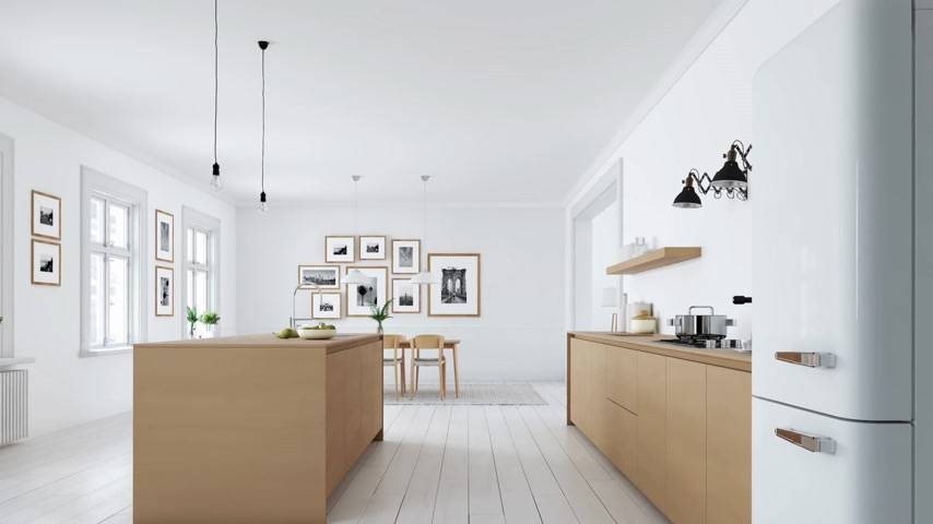 家庭生活 : modern nordic kitchen in loft apartment. 3D rendering