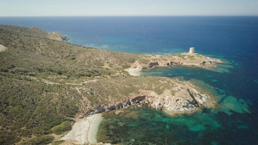 zátoka : drone view of a cove in Sardinia