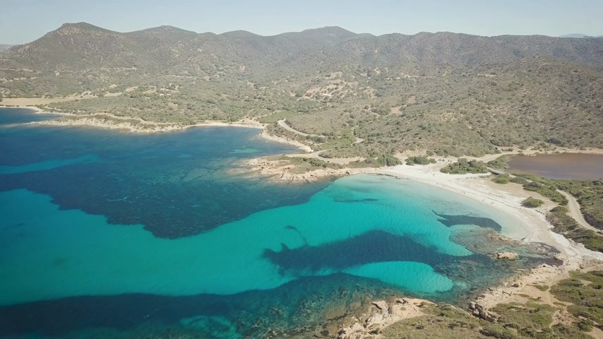 sardinie : drone view of a cove in Sardinia