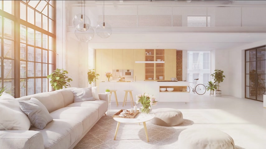 maison : Illustration 3D d'un nouvel appartement loft d'une ville moderne.
