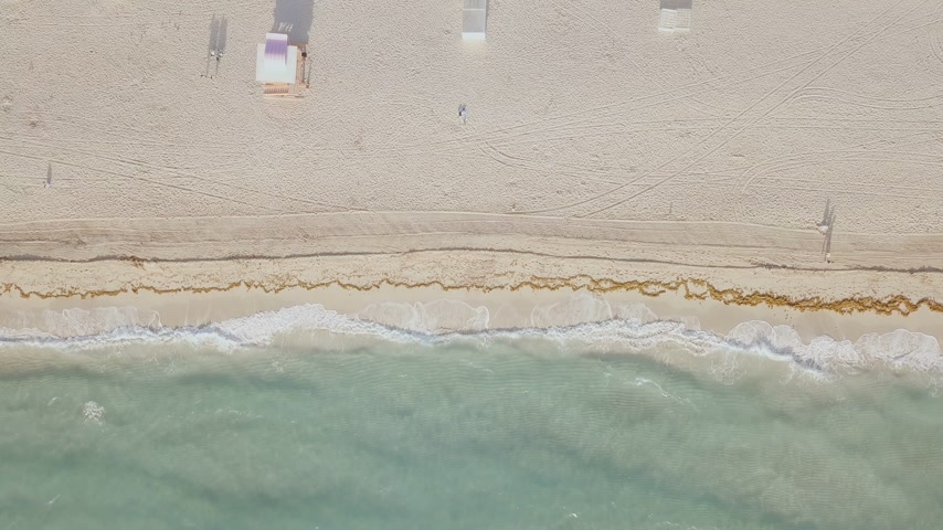 drone miami : Aerial view of sandy beach. miami beach