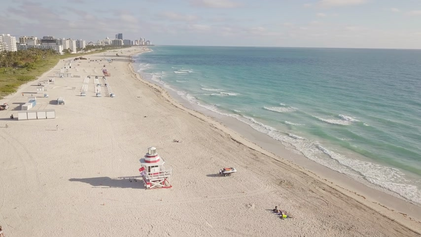 drone miami : Top view of South Beach Miami. drone view