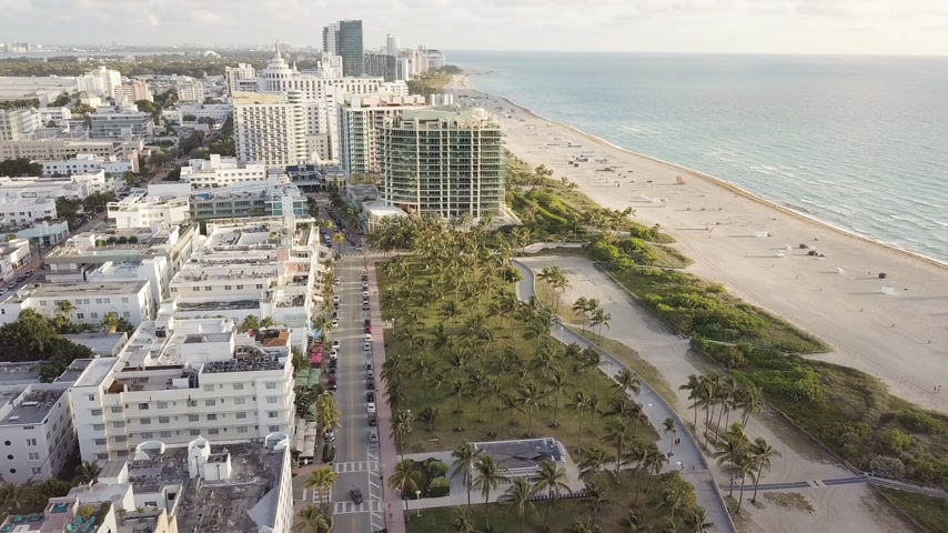 drone miami : Top view of Ocean Drive. South Beach Miami Stock Footage