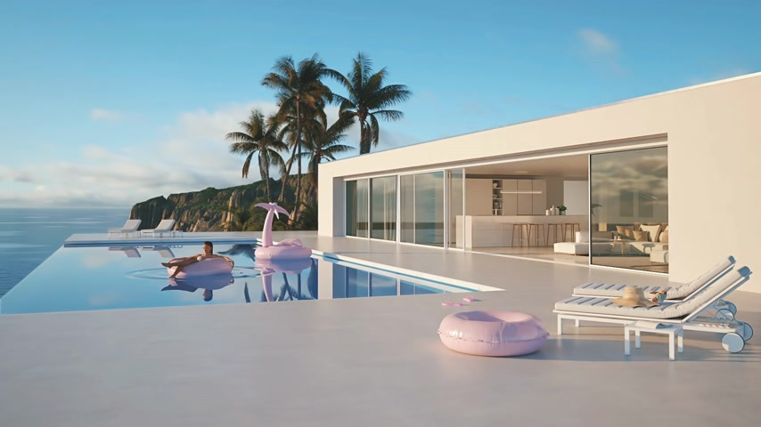 3D-Illustration. modern luxury infinity pool with summer accessoires