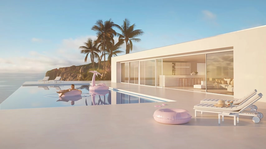 sunhat : 3D-Illustration. modern luxury infinity pool with summer accessoires. sun flares