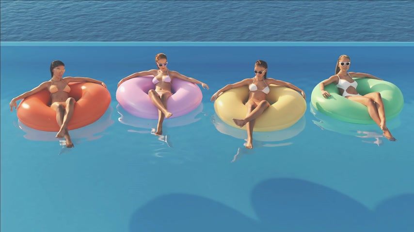 3D-Illustration of women swimming on float in a pool. Stock mozgókép