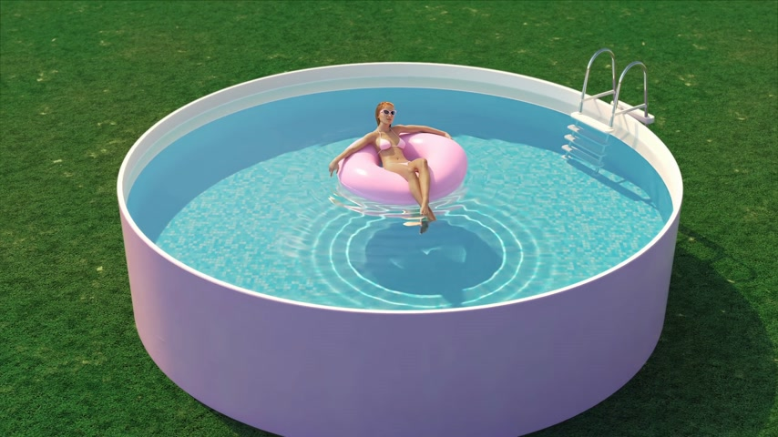 3D-Illustration of a woman in pool with a float