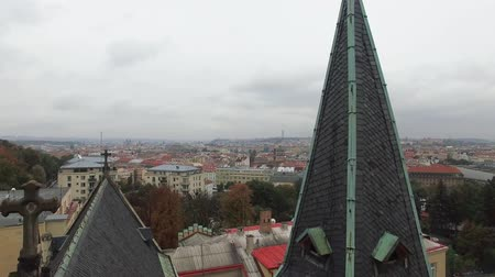 outubro : Aerial view of the Sacre Coeur in Prague with beautiful view to the city Stock Footage