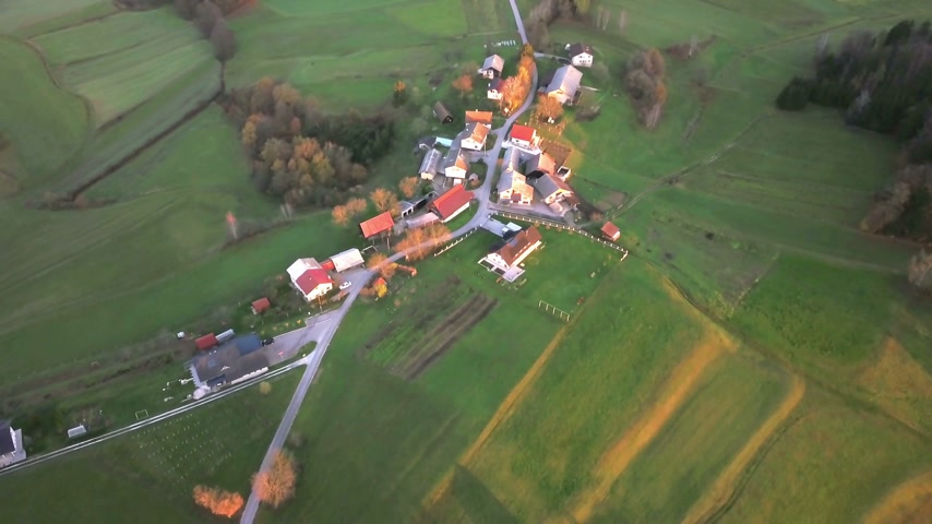 slovenya : Aerial: Filming beautiful Slovenian country landscape at autumn early morning. Flying on cold autumn morning with beautiful sunrise.