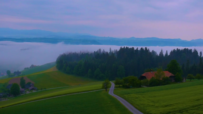 svájci : 4K Time Lapse.During the spring, cool weather and fresh air are exploring the forest.Spring Sunrise In Arni, Bern ,Switzerland Stock mozgókép