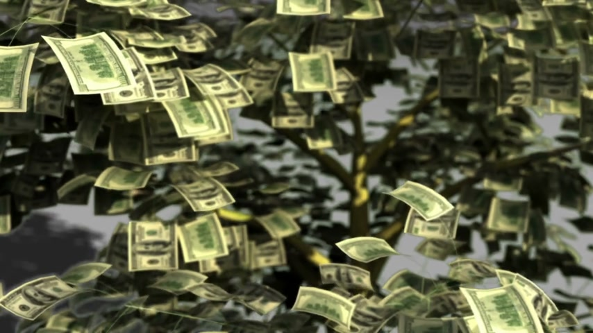 para kazanmak : Funny animation of money tree made up of hundred dollar bills shaking and shading the leaves