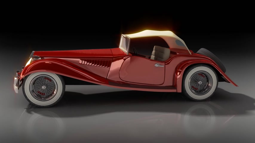 сбор винограда : Shiny old hot rod 3D model of vintage red convertible car Стоковые видеозаписи