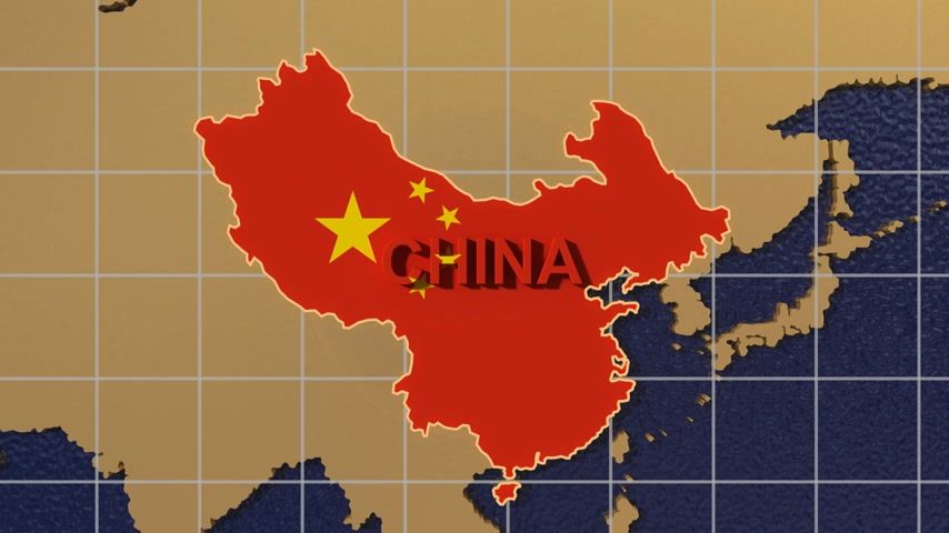 mapa do mundo : HD digital animation starts with zoom out from China map textured with flag to folding globe spinning Vídeos