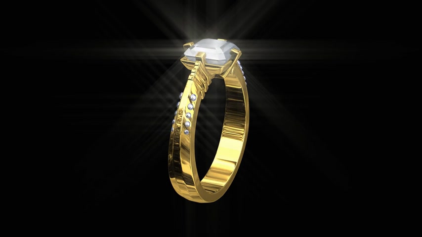 refraksiyon : 3D wedding gold ring with white diamonds, spinning sparkling seamless HD Stok Video
