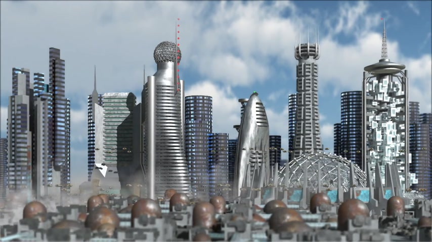 kitalálás : Science fiction cityscape with metallic structures, marina and hoovering aircrafts for futuristic or fantasy animated backgrounds Stock mozgókép