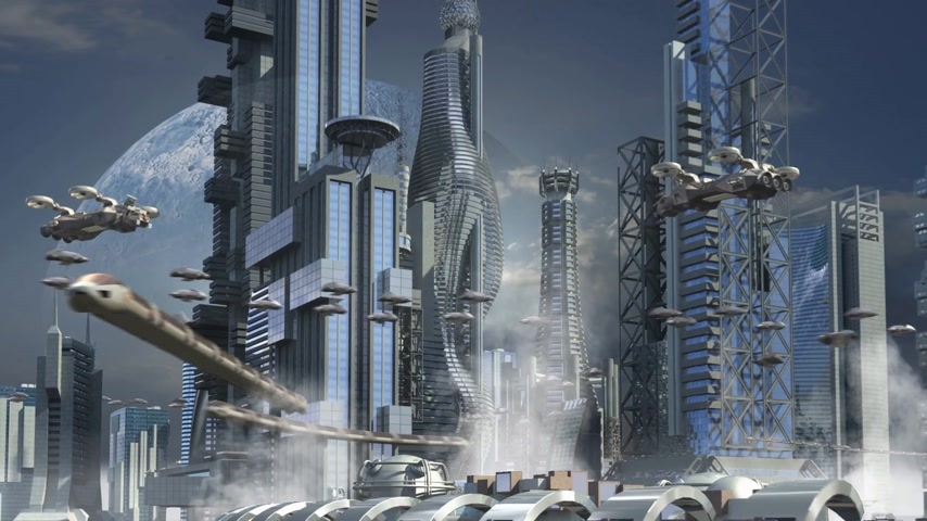 sciencefiction : De skyline van de stad van de Science fiction met metalen wolkenkrabbers en hoovering vliegtuigen voor futuristische of fantasy architecturale achtergronden Stockvideo