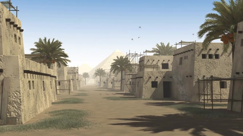sıva : Ancient street with mud huts, palm trees and a pyramid, to be used as architectural background documenting the city life in antiquity Stok Video