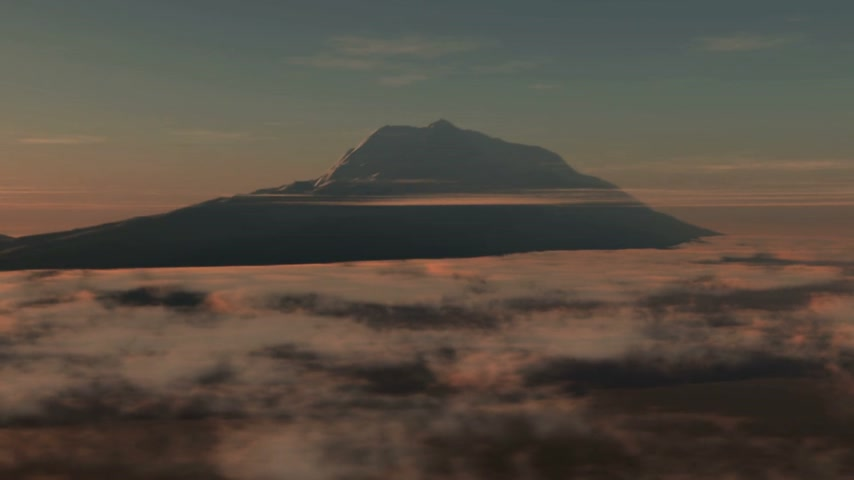 bezmotorové létání : Fly over clouds in sunset around mountain peak for air travel backgrounds