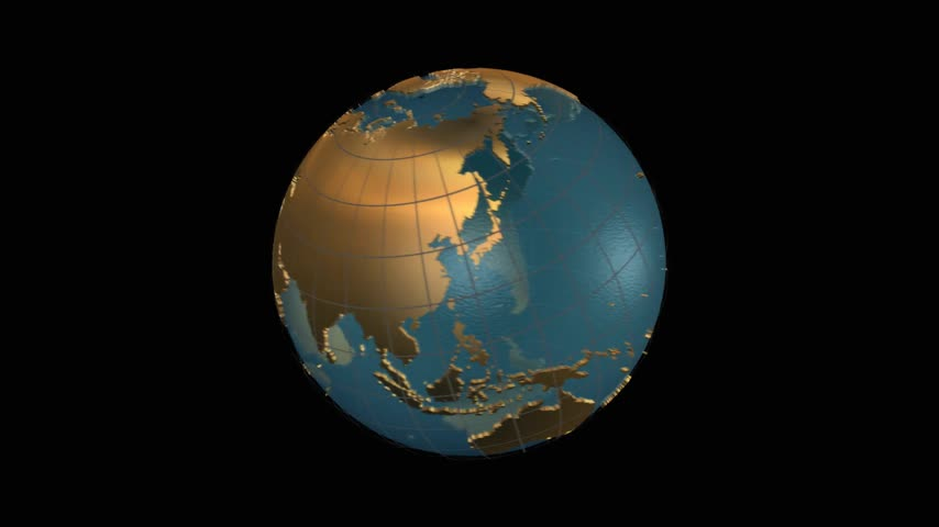 model : Earth map folding in a spinning globe, then zooming on China map outlined in red