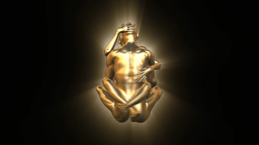 daoism : 3D gold couple embracing and spinning to form a YingYang sign