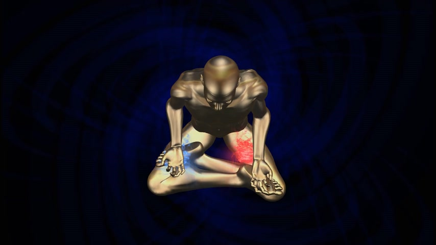 curar : Man silhouette in enlightened Kundalini yoga meditation pose with auras appearing and radiating on the body