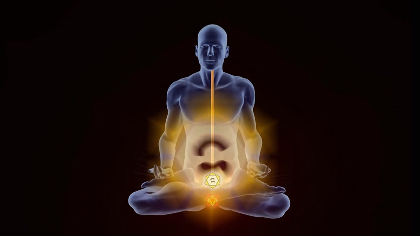 curar : Man silhouette in enlightened Kundalini yoga meditation pose with auras appearing on the body