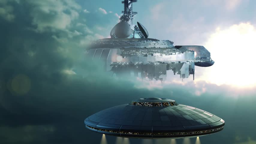mekik : Futuristic sequence with UFO approaching a gigantic mothership in the clouds. Stok Video