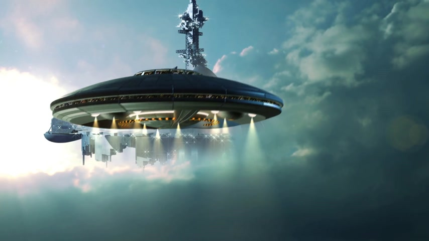 navio : UFO approaching a gigantic mother-ship in the clouds.