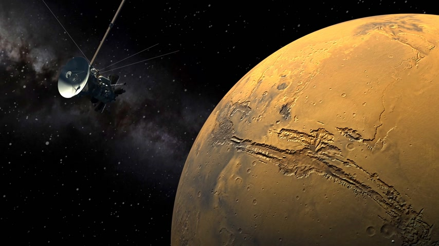 voyager : Unmanned spacecraft similar with the Cassini orbiter passing a Mars like planet Stock Footage