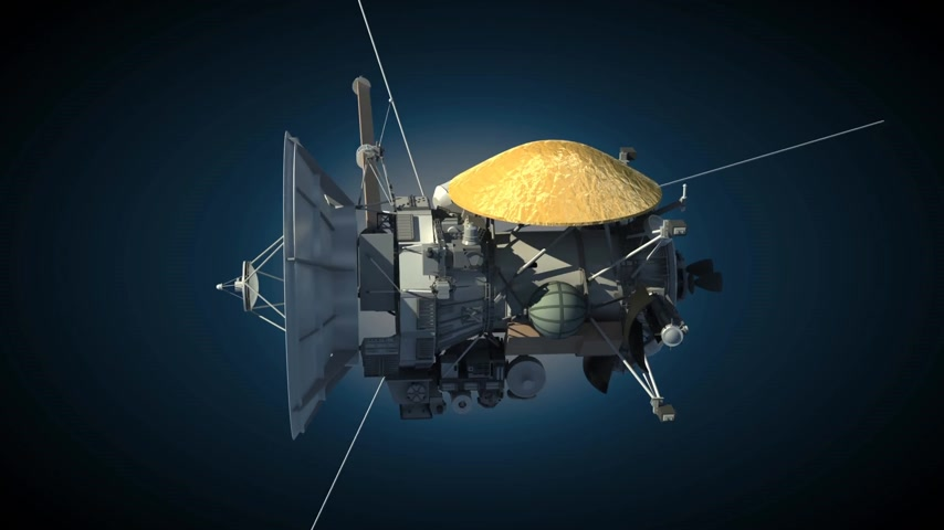 Марс : Unmanned spacecraft like the Cassini Huygens Saturn orbiter Стоковые видеозаписи