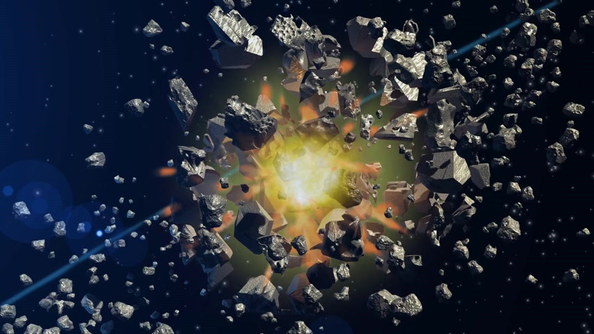 pulverizado : Two asteroids colliding and being pulverized on a space background Stock Footage