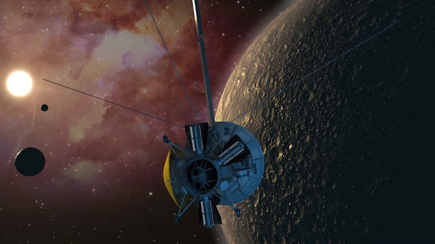 voyager : Satellite spacecraft similar with the unmanned Cassini Huygens Saturn orbiter, passing a moon-like planet