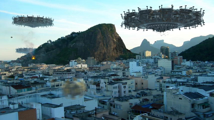 brezilya : A fleet of unidentified flying objects, above buildings in Rio de Janeiro, Brazil, for futuristic, fantasy or interstellar travel or war-game backgrounds.