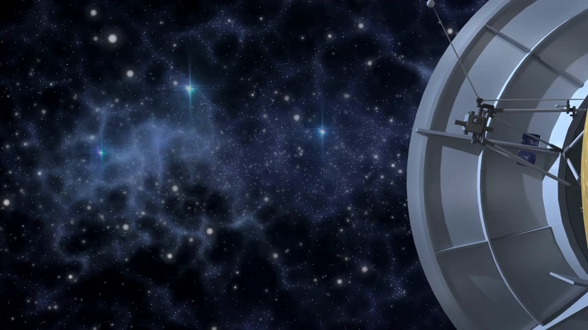 voyager : Unmanned spacecraft similar with the Cassini Huygens Saturn orbiter, flying on a deep space background