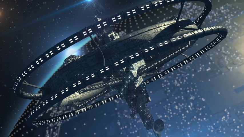 voyager : Interstellar spaceship, with triple gravitational rings and a central telecommunication structure, near   an alien planet, for futuristic or fantasy backgrounds