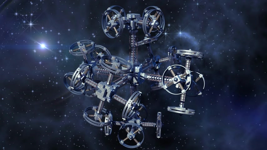 war : An alien spaceship with multiple gravitational wheels in interstellar travel for games, futuristic deep space travel or science fiction backgrounds Stock Footage