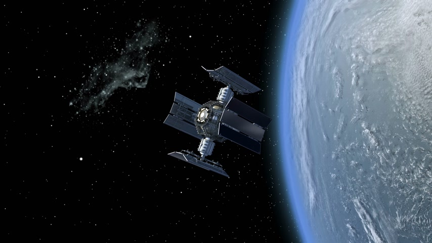 render : 3D Animation of a space station satellite flying around Earth with reflective solar panels and an interchangeable modular structure.