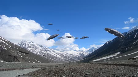 серебро : A loop of alien spaceships flying in the Himalayan mountains, for futuristic, fantasy and war game   backgrounds.