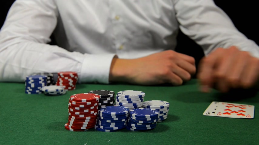 tens : Poker player winning the pot with a pair of tens Stock Footage