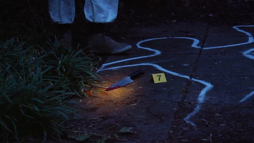 delil : Loopable clip of a forensic scientist taking a blood sample from a kinfe, the murder weapon,lit by the glow of a flash light at a crime scene at night