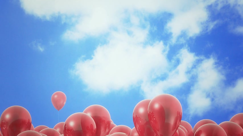 to celebrate : Red ballons in the sky - loopable CG animation Stock Footage