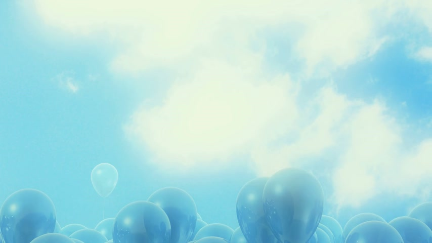 léggömb : Blue balloons flying away on a light blue fulgent background - looped CG animation