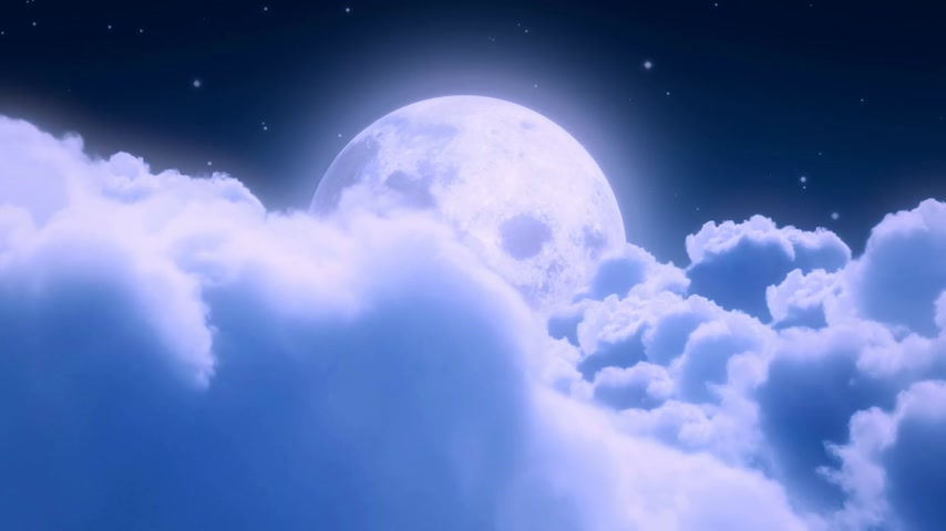 mehtap : Heavy clouds in the moonlight with a big moon in the background - loopable CG animation