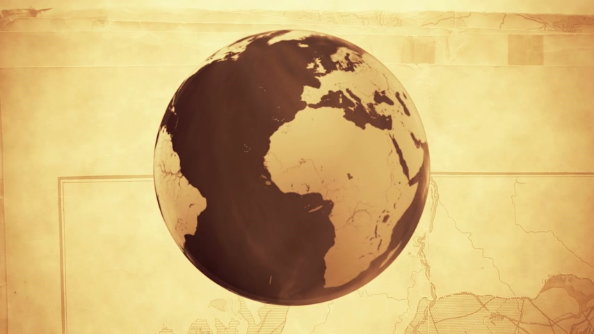 földgolyó : Spinning Globe on sepia background - Looped CG animation  Stock mozgókép
