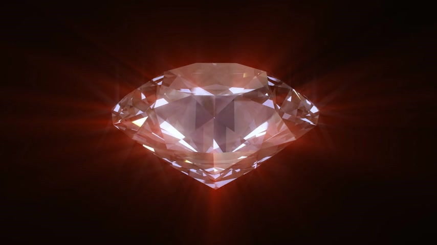 rocks red : Spinning red shining diamond - looped 3d animation Stock Footage