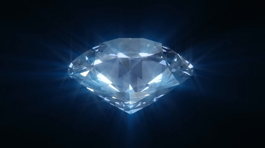 drágakő : Spinning blue shining diamond - looped 3d animation