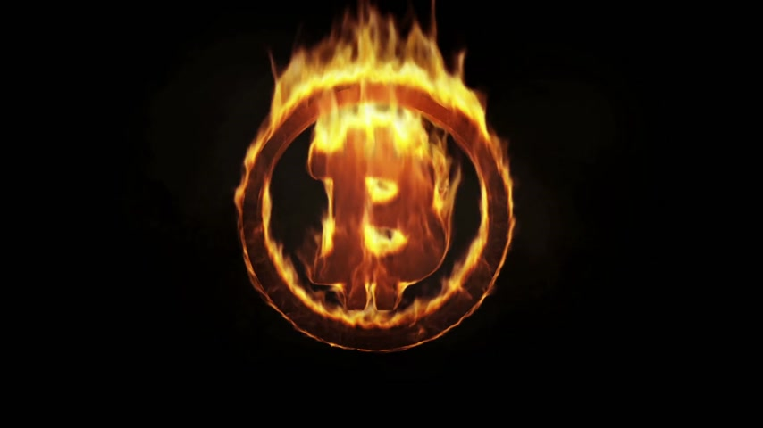 waluta : Burning Bitcoin Symbol