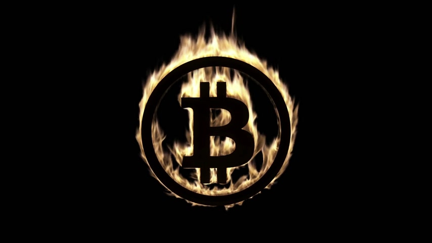 обжиг : Burning Bitcoin Symbol